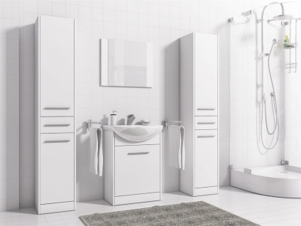 Badmöbel Set 5-Tlg Weiss matt SEVILLA XL inkl.Waschtisch - Vorschau 2