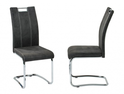 Esszimmerstühle Stühle Freischwinger 4er Set - DC - Softtex Anthrazit