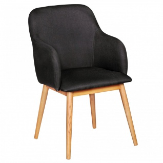 Esszimmerstuhl Stuhl Vierfußstuhl JASPER Stoff - Anthrazit /Rubberwood