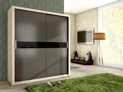 Schiebetürenschrank Schrank BRIT Sonoma /Graphit + Schwarzglas 180x200