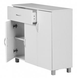 Kommode Sideboard - AMIRA - Weiss 90 x 75 cm mit 3 Türen + 1 Schublade - Vorschau 4