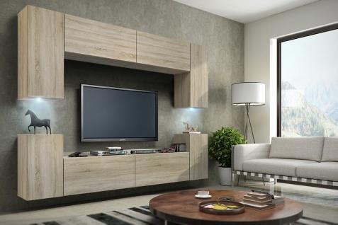 Mediawand Wohnwand 8 tlg - Konzept 1 -Sonoma matt mit LED-Beleuchtung