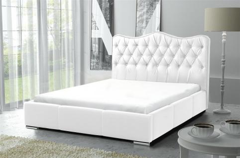 Polsterbett Bett Komplettset SULTAN Kunstleder Weiss 160x200cm