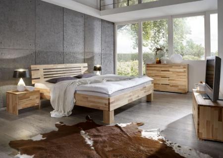 Massivholzbett Schlafzimmerbett - LANDO - Bett Kernbuche 180x220 cm