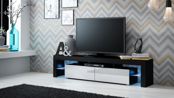 TV Board Lowboard JACK Schwarz/ Weiss Hochglanz 200cm