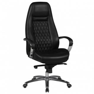 Drehstuhl Bürostuhl Chefsessel TEXAS -Echtleder Schwarz