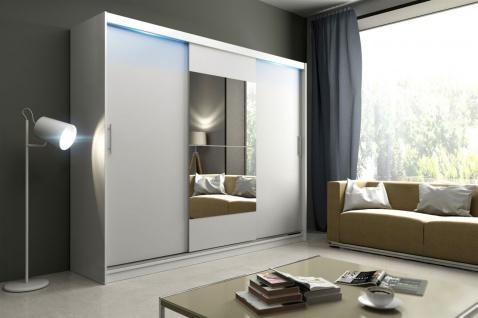 Schiebetürenschrank Schrank DOLM 01 Weiss matt 250x218 cm inkl.LED - Vorschau 1