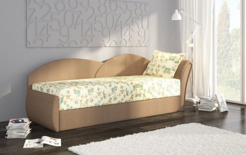 Sofa Schlafsofa inklusive Bettkasten ALINA / R - Beige / Muster