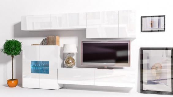 Mediawand Wohnwand 8 Tlg   Konzept 16   Weiss Hochglanz + LED
