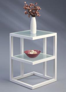 Beistelltisch Tisch SUMA 40x40 cm Weiss matt lackiert / ESG Glas Sand