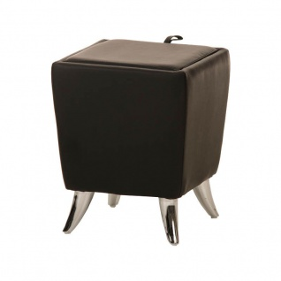Sitzhocker - Ria - Hocker Schminkhocker Kunstleder Schwarz 36x36 cm