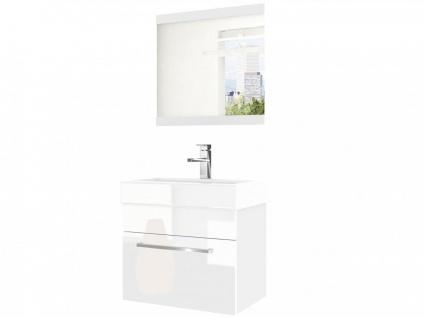 Badmöbel Set 2-tlg MARIO Set.6 Weiss HGL inkl.Waschtisch 50 cm