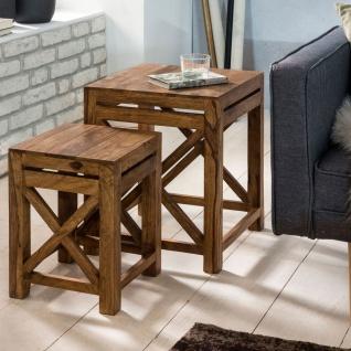 Beistelltische Tisch 2er Set BUDAK Sheesham Massivholz