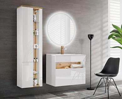 Badmöbel Set 3-tlg Badezimmerset VARESE Weiss inkl.Waschtisch 80cm - Vorschau