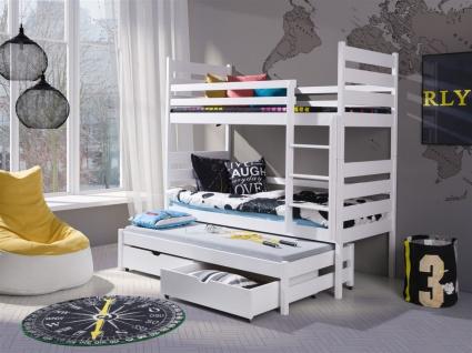 Etagenbett Bett SAMUEL XL Kiefer Massiv inkl.Rollrost und Gästebett