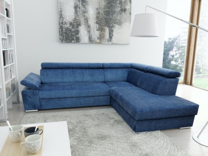 Ecksofa Sofa LIBRA mit Schlaffunktion Blau Ottomane Rechts