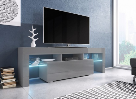 TV Board Lowboard TORIS Grau Hochglanz 138cm