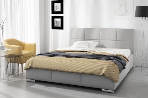 Polsterbett Bett Doppelbett HANNES Kunstleder Grau 140x200cm
