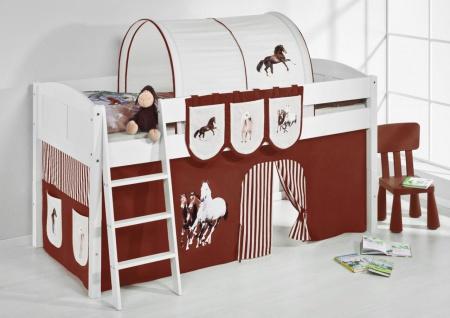 Spielbett Bett -LANDI - Pferde Braun -Teilbar-Kiefer Weiss-mit Vorhang
