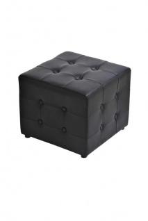 Sitzwürfel Sitzhocker - Cosimo - Hocker : Kunstleder Schwarz 44x44 cm