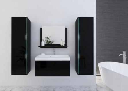 Badmöbel Set 5-Tlg Schwarz HGL SKYLINE inkl.60 cm Waschtisch und LED