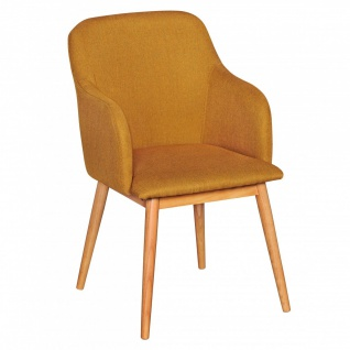Esszimmerstuhl Stuhl Vierfußstuhl JASPER Stoff - Curry /Rubberwood