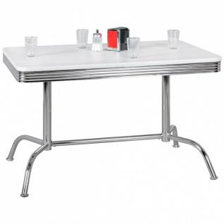 Esstisch Bistro -Tisch DREAM NR.2 120x80 cm in Dekor Weiss / Chrom