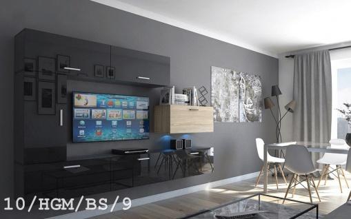 Mediawand Wohnwand 7 tlg - Bedox 3 -Schwarz HG- Sonoma matt Nr.1 + LED