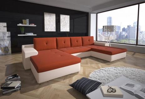 Couchgarnitur FLORENZ U-Form mit Schlaffunktion Weiss / Orange