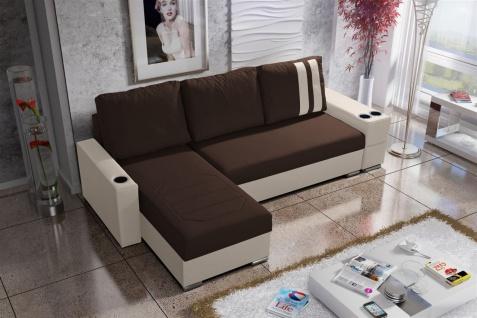 Ecksofa Sofa KNOX XL mit Schlaffunktion Creme/Dunkelbraun Otto.. Links