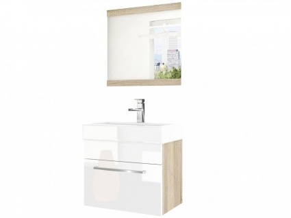 Badmöbel Set 2-tlg MARIO Set.6 Sonoma-Weiss HGL inkl.Waschtisch 50 cm