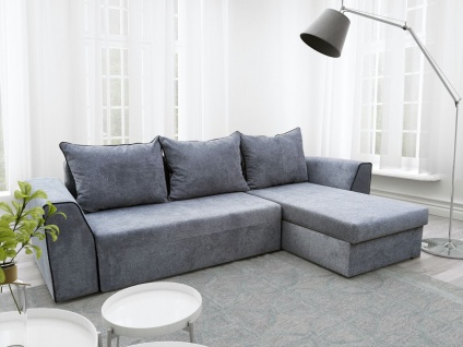 Ecksofa Sofa TAMO mit Schlaffunktion Grau Ottomane Rechts