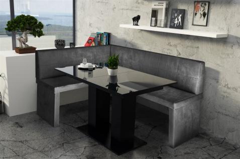 Eckbankgruppe 196x142 cm ROBIN XL R Vin..Schwarz/ Tisch DANTE Schwarz
