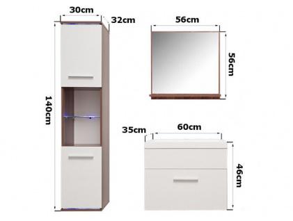 Badmöbel Set 4-Tlg Weiss Hochglanz TOPI inkl.Waschtisch inkl.LED - Vorschau 4