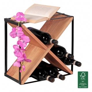 Weinregal Flaschenregal 37 cm für 16 Flaschen Massiv-Holz Akazie