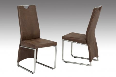 Stühle Hochlehnstuhl - NANO - 4er Set Vintage Leder-Look Mittelbraun