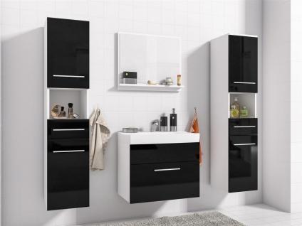 Badmöbel Set 5-Tlg Weiss / Schwarz Hochglanz LIVO XL inkl.Waschtisch - Vorschau 4