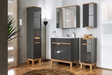 Badmöbel Set 5-tlg Badezimmerset DEVI Grau HGL inkl.Waschtisch 60 cm