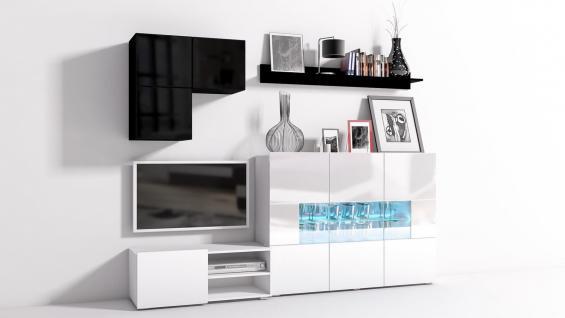 Mediawand Wohnwand 6 tlg - Konzept 30 - Weiss /Schwarz Hochglanz +LED