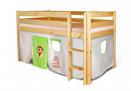 Vorhangset - GIRAFFE / LÖWE -elfenbein-grün für Hochbet Spielbett Etagenbett