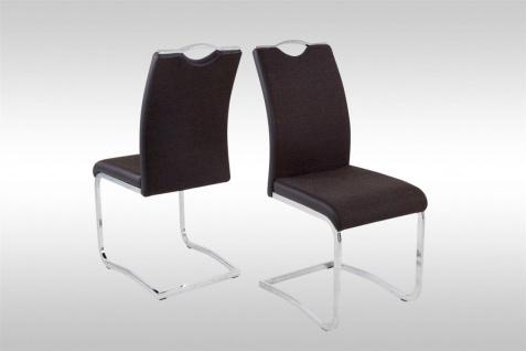 Esszimmerstühle Stühle Freischwinger 4er Set FERIS Webstoff Braun