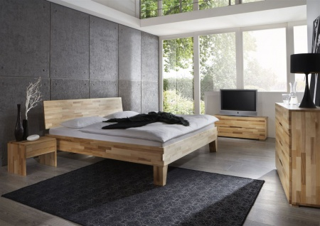 Massivholzbett Schlafzimmerbett -Sierra XL -Bett Kernbuche 200x220 cm