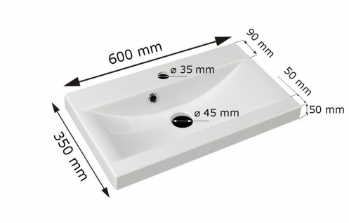 Badmöbel Set 3-Tlg Wenge matt MINI inkl.Waschtisch - Vorschau 3