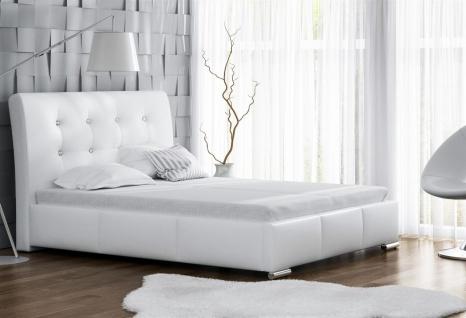 Polsterbett Bett Doppelbett RENE Kunstleder Weiss 140x200cm