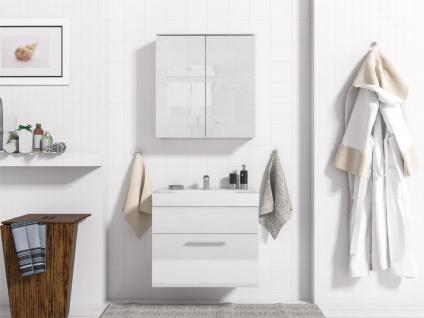 Badmöbel Set 3-Tlg Weiss / Weiss Hochglanz MINI inkl.Waschtisch