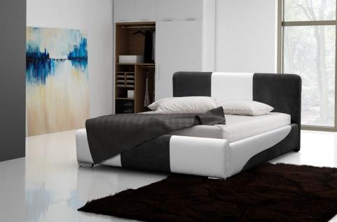 Polsterbett Bett Doppelbett PASCAL Weiss- Schwarz 160x200cm