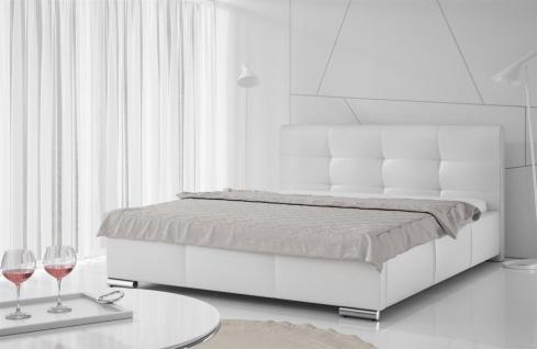 Polsterbett Bett Doppelbett TAYLOR Kunstleder Weiss 140x200cm