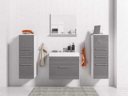 Badmöbel Set 5-Tlg Weiss / Grau Hochglanz LIVO XS inkl.Waschtisch - Vorschau 2