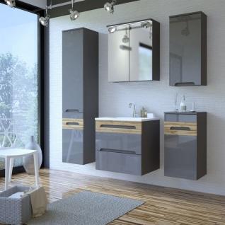 Badmöbel Set 5-tlg Badezimmerset LAXY Grau HGL inkl.Waschtisch 60 cm