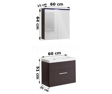 Badmöbel Set 3-Tlg Weiss / Schwarz Hochglanz MINI inkl.Waschtisch - Vorschau 2
